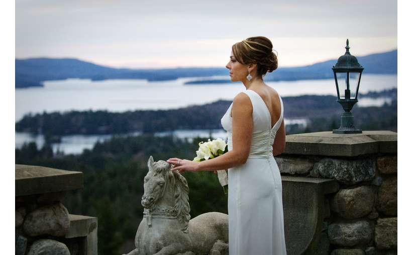 A honeymoon bride taking in the views.