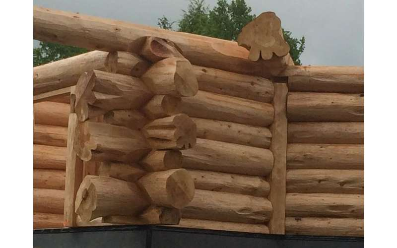 a pile of logs stacked, looks like it's going to be a house