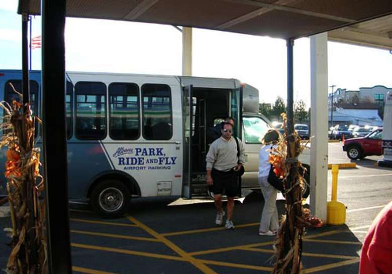 exiting the park and fly shuttle bus at albany airport