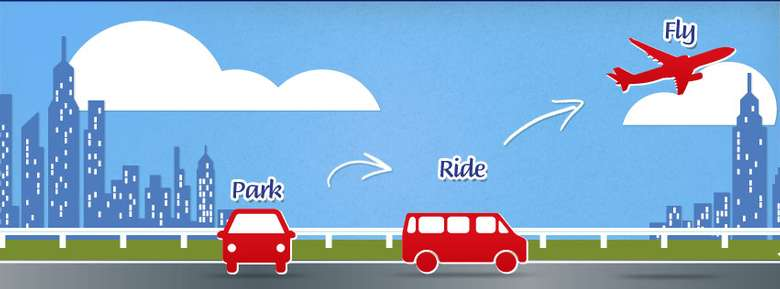 illustration of park ride and fly showing a red car, a red shuttle and a red plane on a background of blue sky and green grass