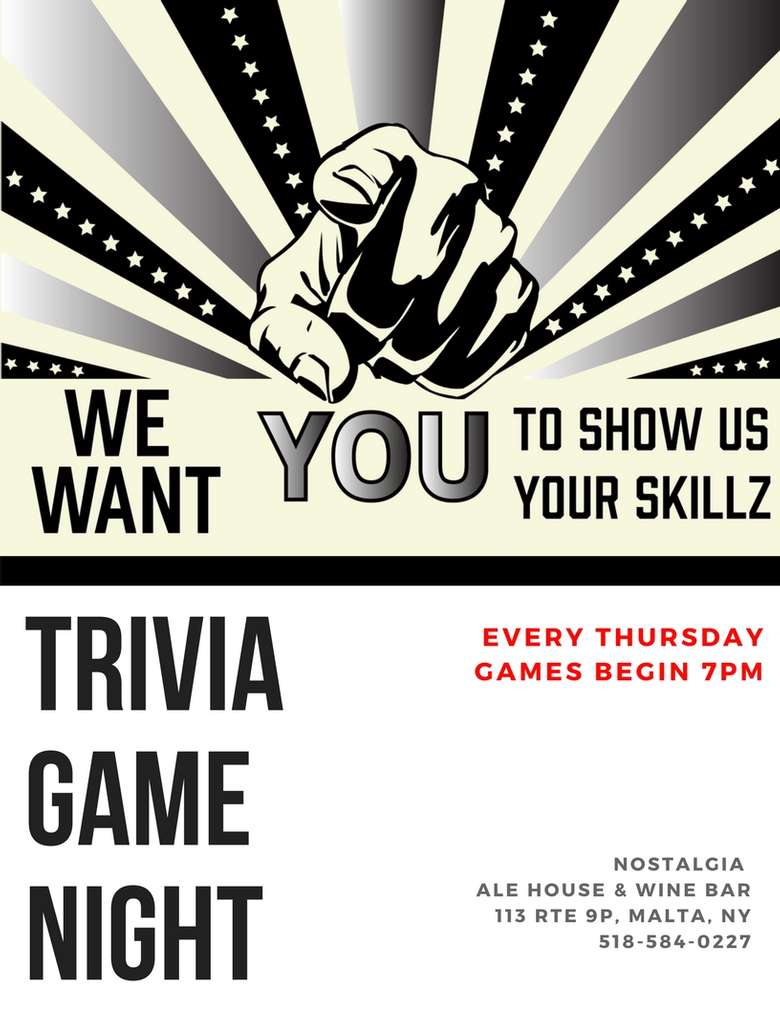 poster that says we want you to show us your skillz at trivia game night
