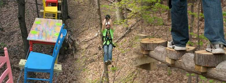 Zip line over a 500-foot long gorge.