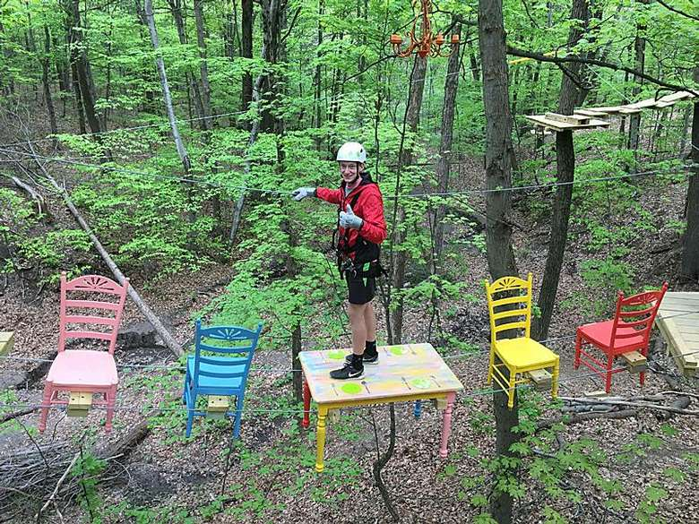 Make your way through obstacles in the Treetop Challenge Course.