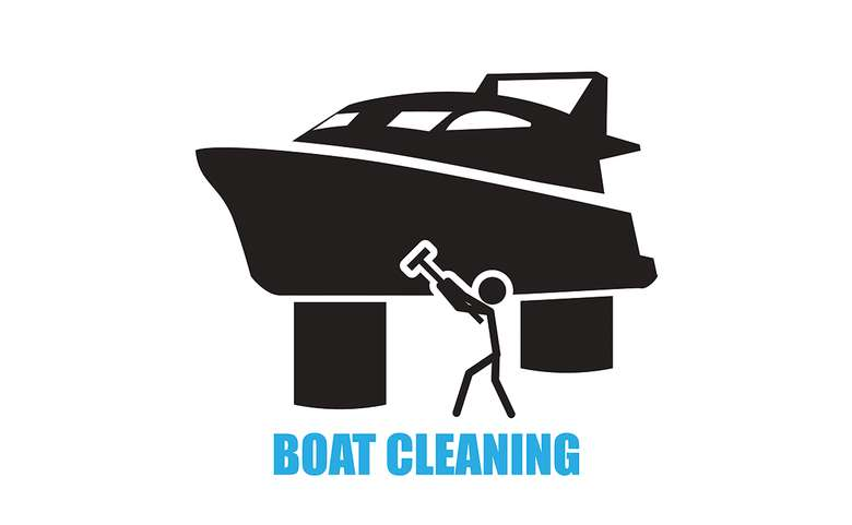an illustration with a stick figure using a tool to wash the side of a boat and the words 'boat cleaning' displayed