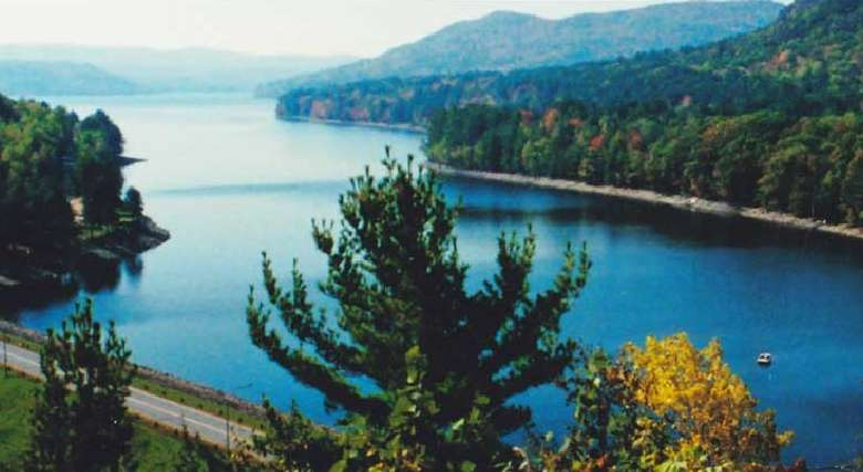 aerial view of great sacandaga lake with some fall foliage