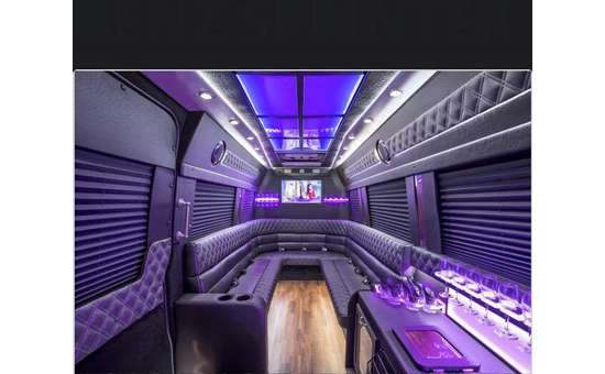 Van with half circle seating a tv and purple lights