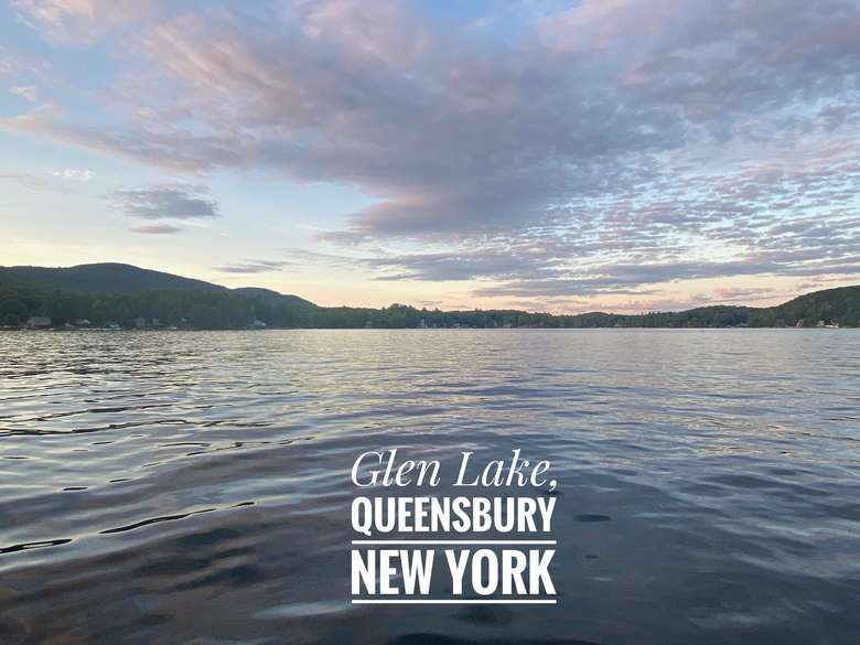 View of a sunset Glen Lake in Queensbury New York