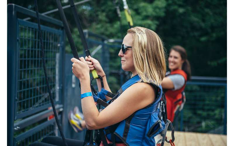woman getting ready to zipline