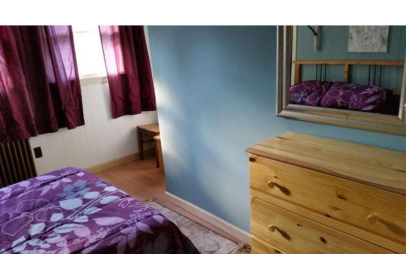Another view of purple bedroom