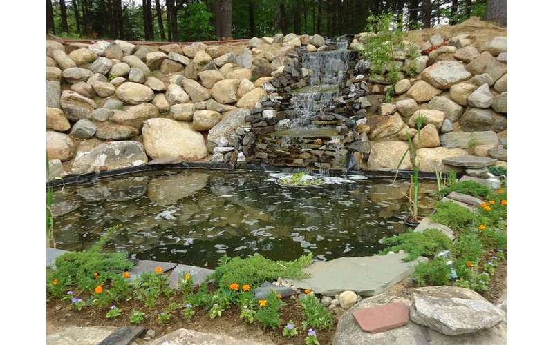 Waterfall and fishpond
