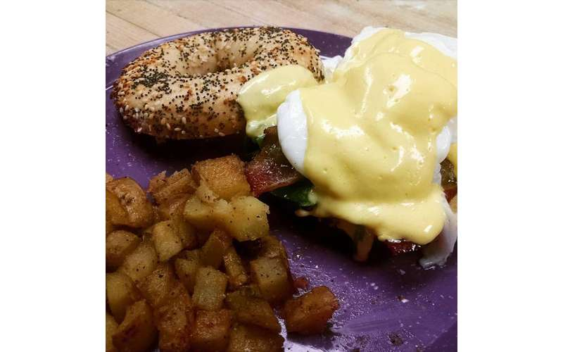 Eggs Benny on a bagel!