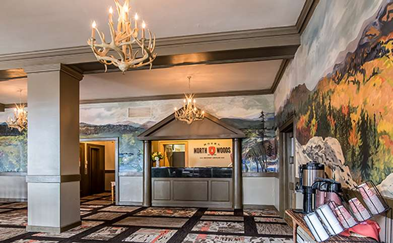 lobby and front desk at hotel north woods