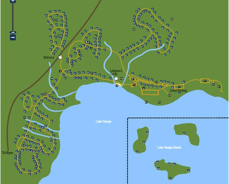 a map of rogers rock campground on lake george