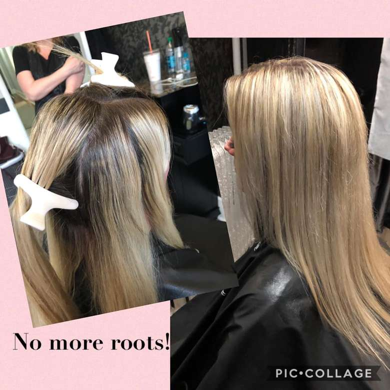 side by side photos of colored hair roots