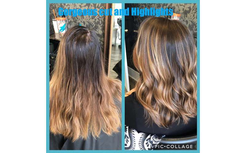 side by side photos of highlights in hair