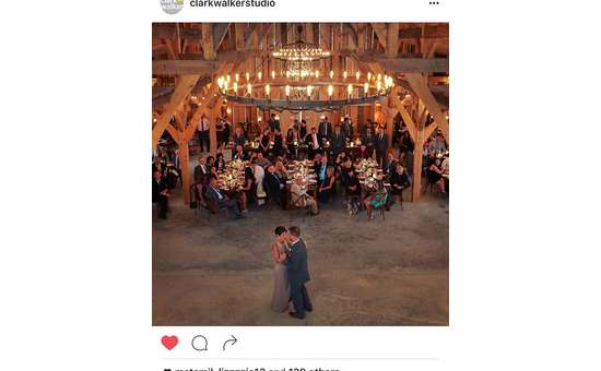 screenshot of an instagram photo of a groom dancing with his mom at the reception