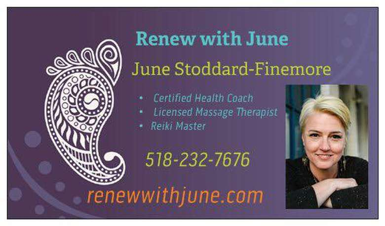 renew with june business card with june's picture, phone number, and website