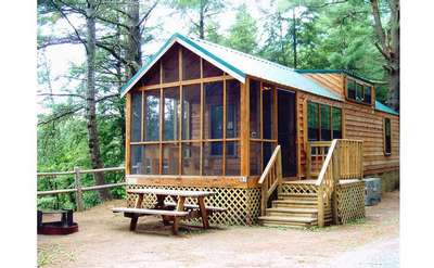 Three types of rustic Camping Cabins are offered at Schroon River Escape.