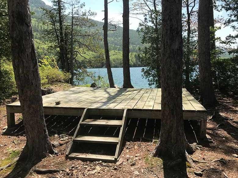The tent platform at Phenita Island on Lake George