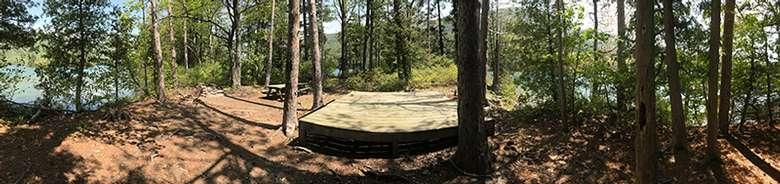 Panoramic view of Lake George's Phenita Island campsite