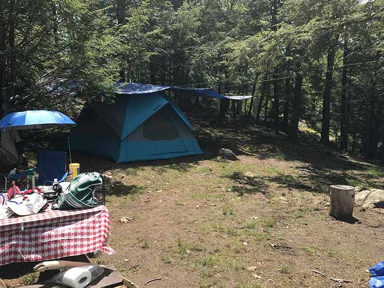 A tent set up at Campsite #1 on Agnes Island in Lake George