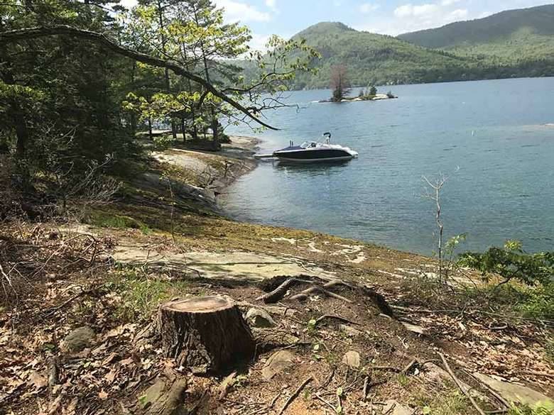 A view of Campsites two and three's dock at Agnes Island on Lake George