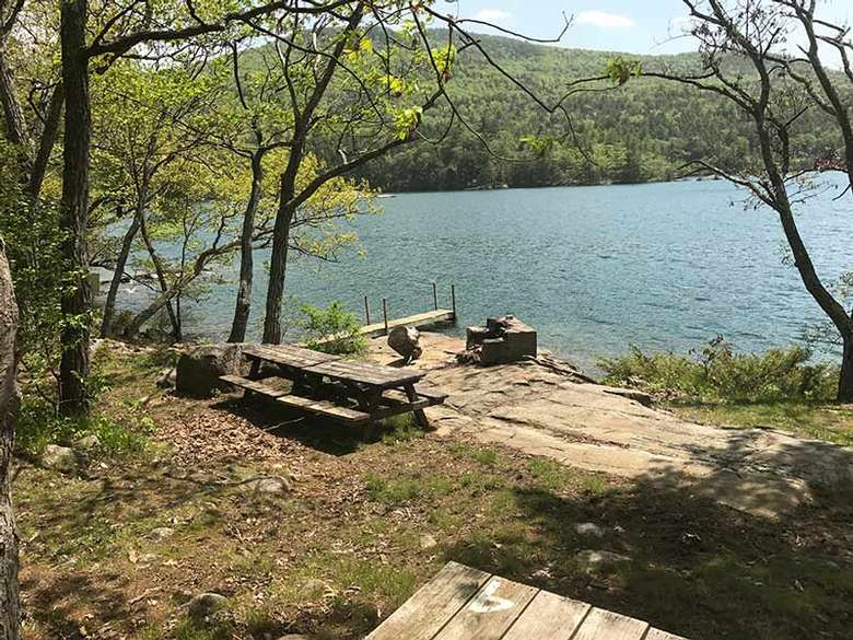 Picnic and fireplace area for Campsite #4 at Agnes Island