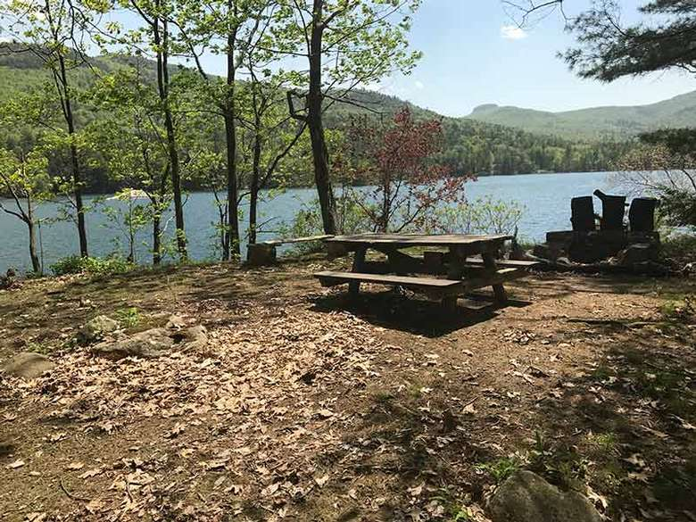 Campsite #5 on Agnes Island in Lake George with a picnic table and fireplace