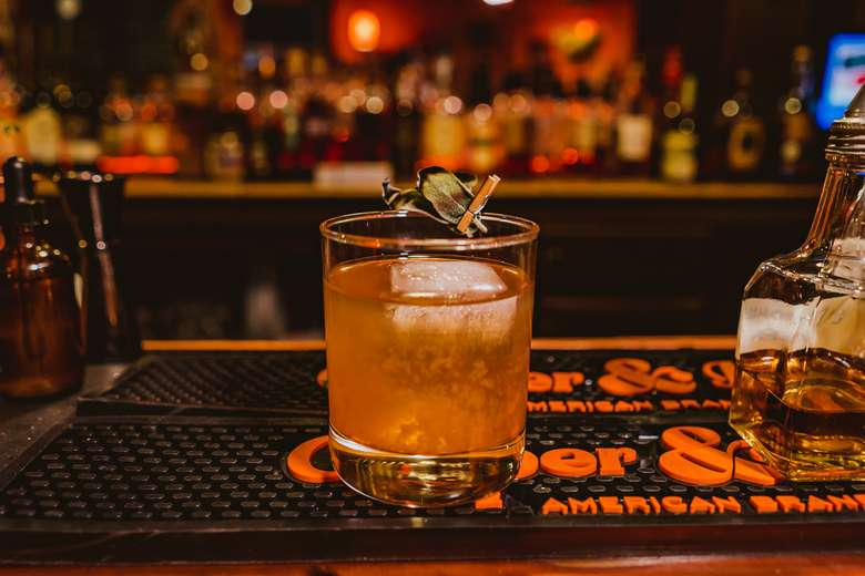 Devil in Shoe Leather - Johnny Smoking Gun umami whiskey, white miso & kabocha squash syrup, citric acid, Angostura bitters, torched sage.
