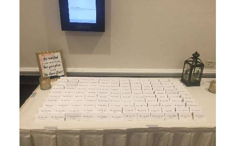 a table with a bunch of placards