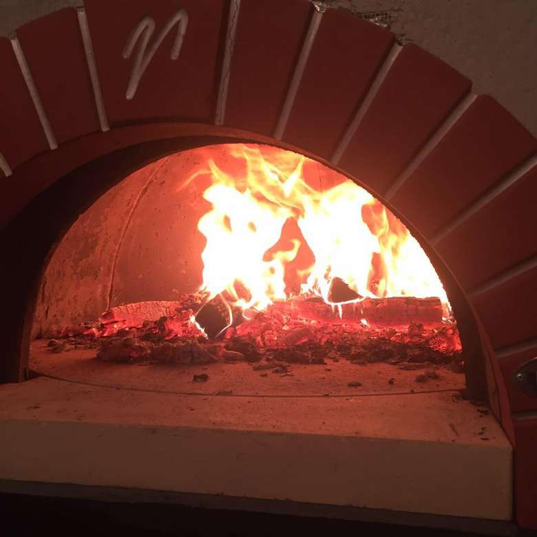 wood fired oven flames