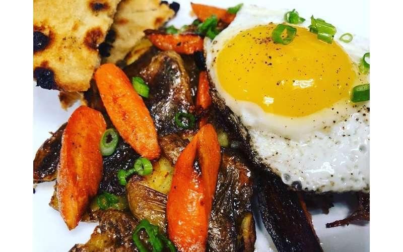 eggs on veggies