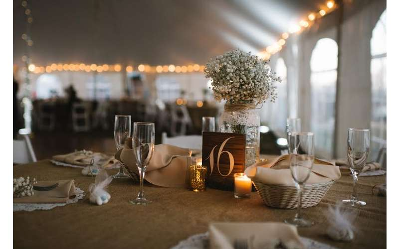 Rustic table settings in the Event Tent