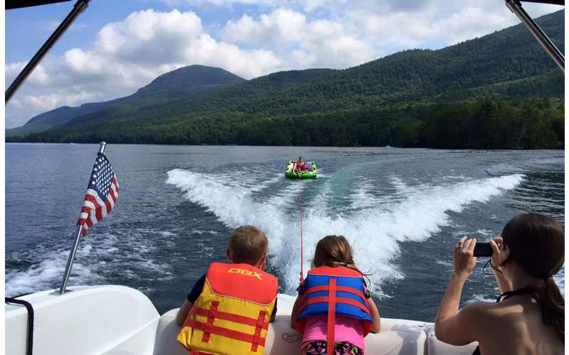 Nothing is more thrilling than riding in a tube on Lake George.