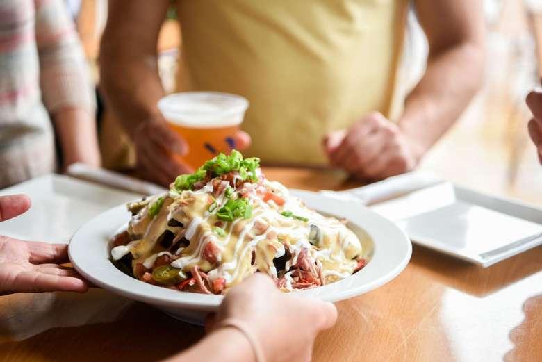 plate of nachos at lake george beach club