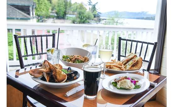 Enjoy indoor dining with one of the best scenic views in Lake George Village.