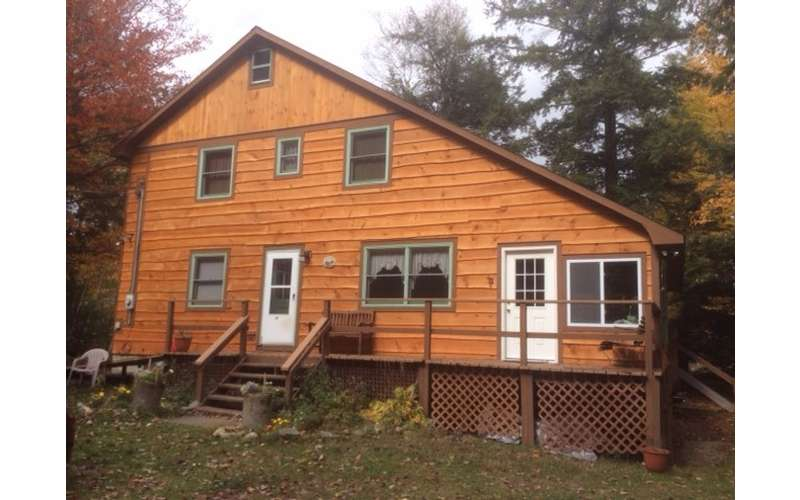 Brant Lake Getaway has a rustic feel to it, perfect for an Adirondack vacation.