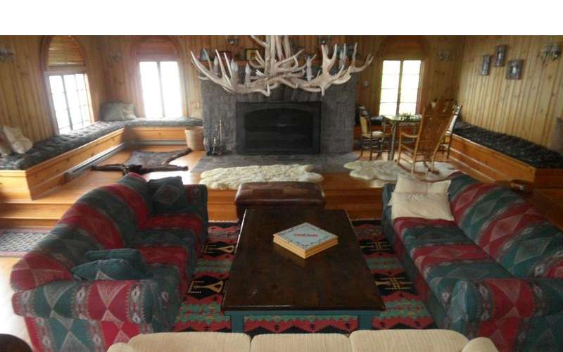 The Great Room has Adirondack decor and feels very rustic.