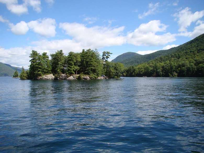 An island on Lake George