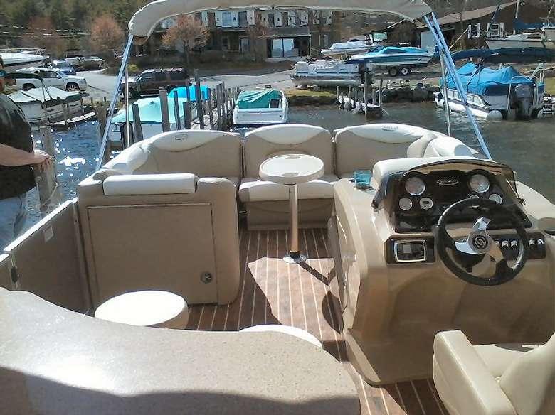 Tan interior of a boat