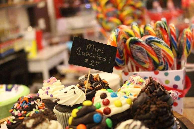 display of mini-cupcakes