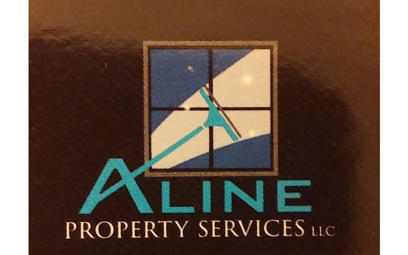 the logo for aline property services with a window wiping image