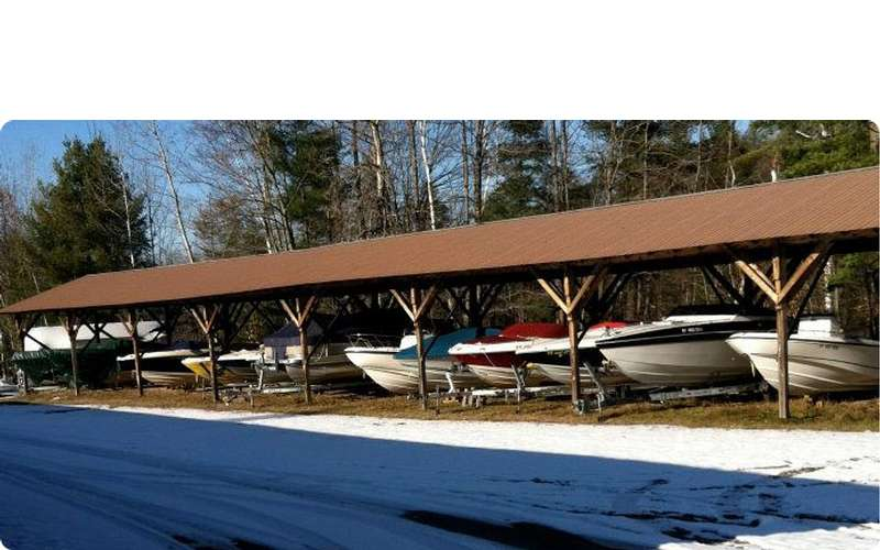 a long storage shed for boats