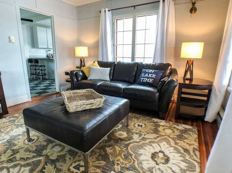 leather sofa and tables in a living room