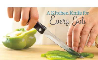 a promo image of a person cutting through a vegetable with a cutco knife