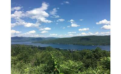 a view of lake george from the top of a mountain