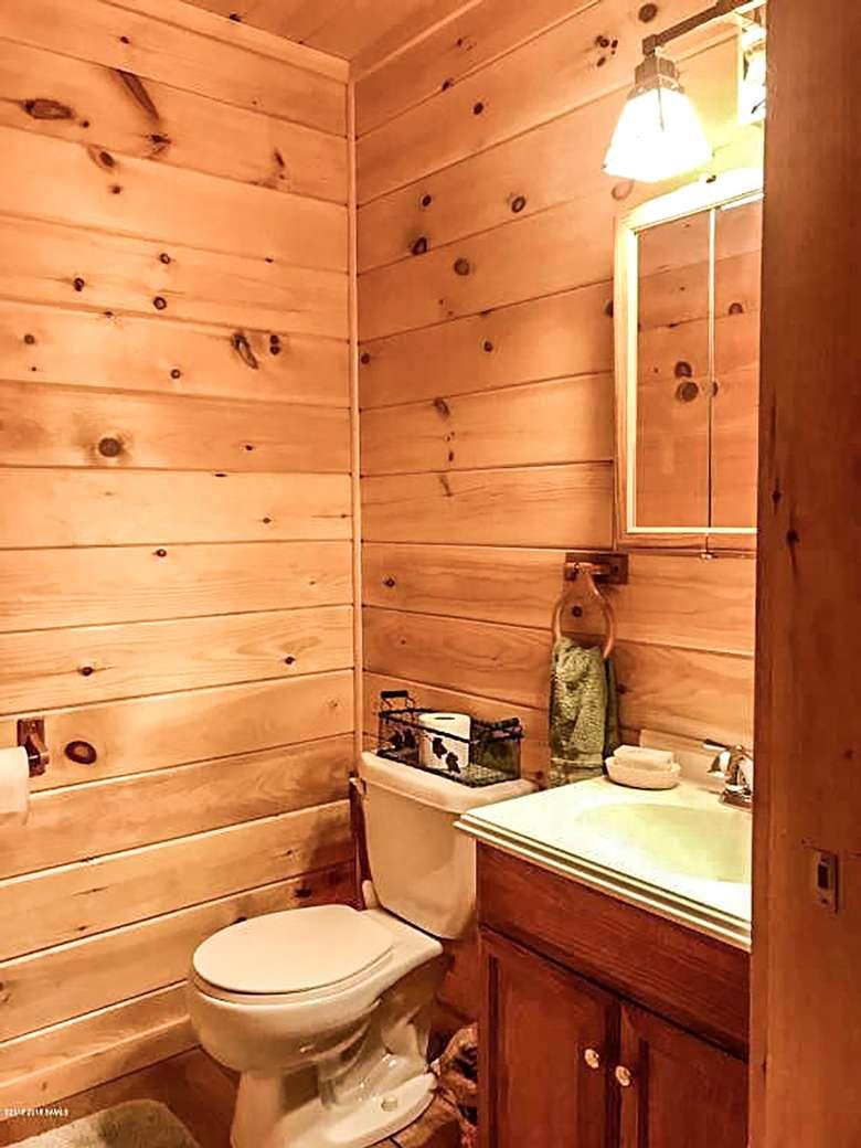 bathroom in a log home