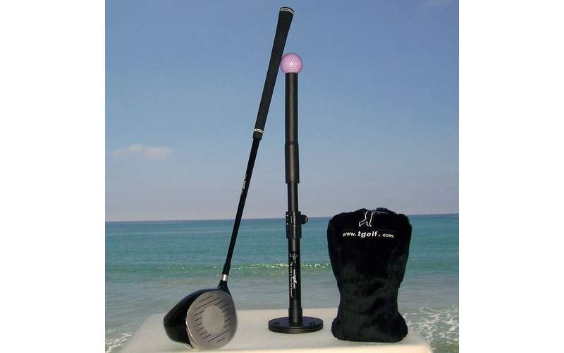 tee golf equipment with ocean in the background