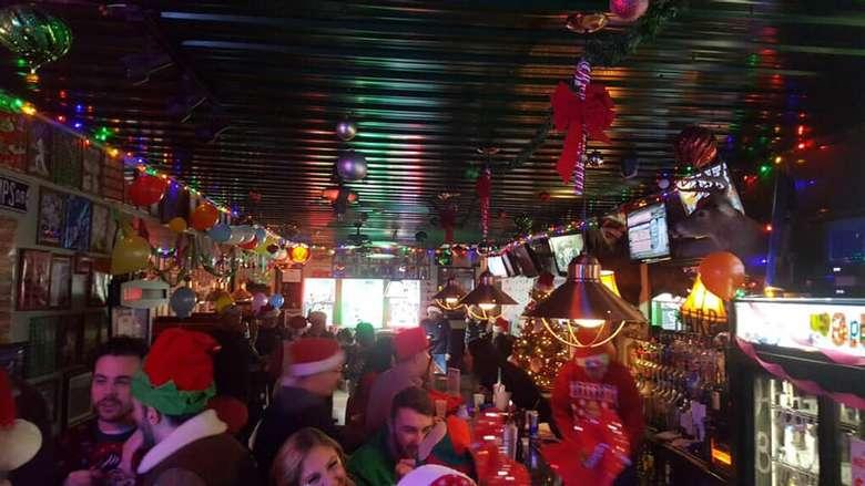 view of bar on Christmas