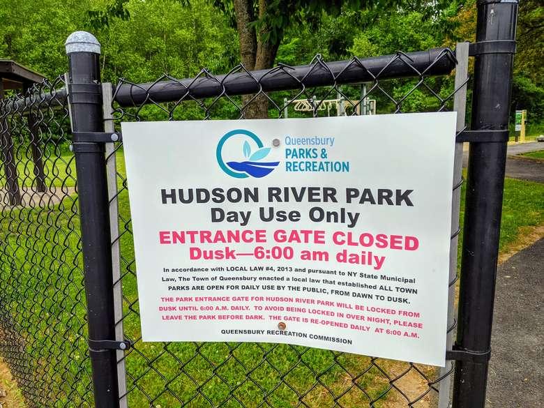 Hudson River Park sign on fence